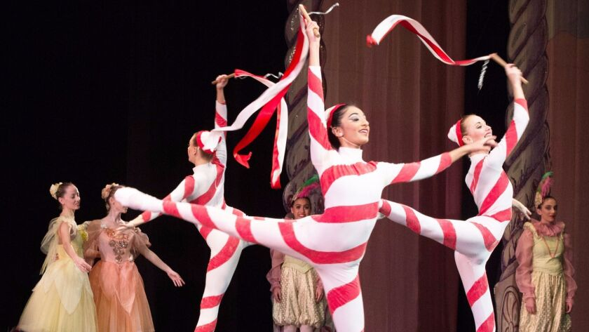 """Dancing candy canes are among sweets featured in The California Ballet's annual production of """"The N"""