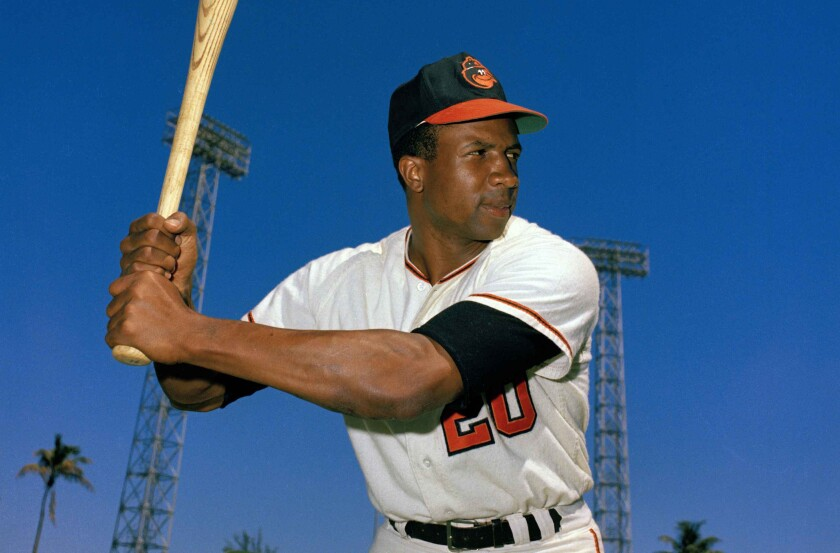 Baseball Hall of Famer Frank Robinson with the Baltimore Orioles in 1967.