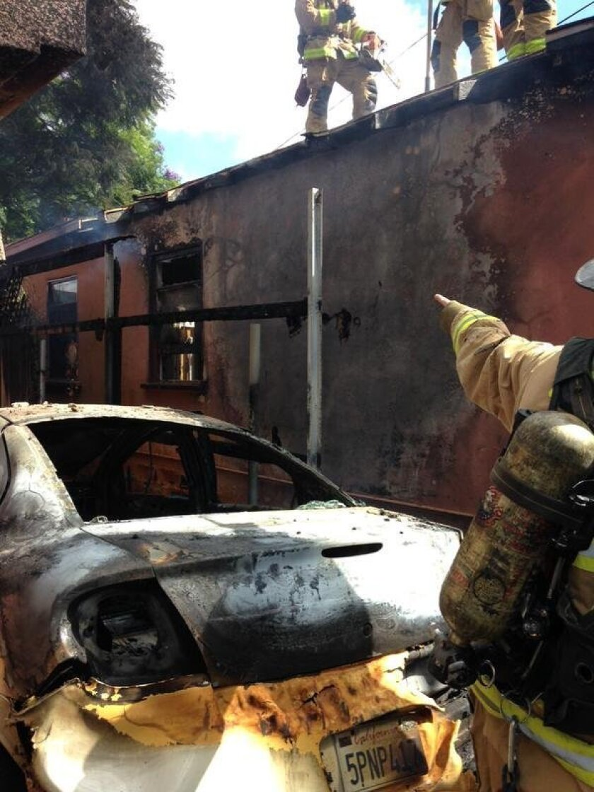 Firefighters extinguished a blaze in Normal Heights. / San Diego Fire-Rescue Department