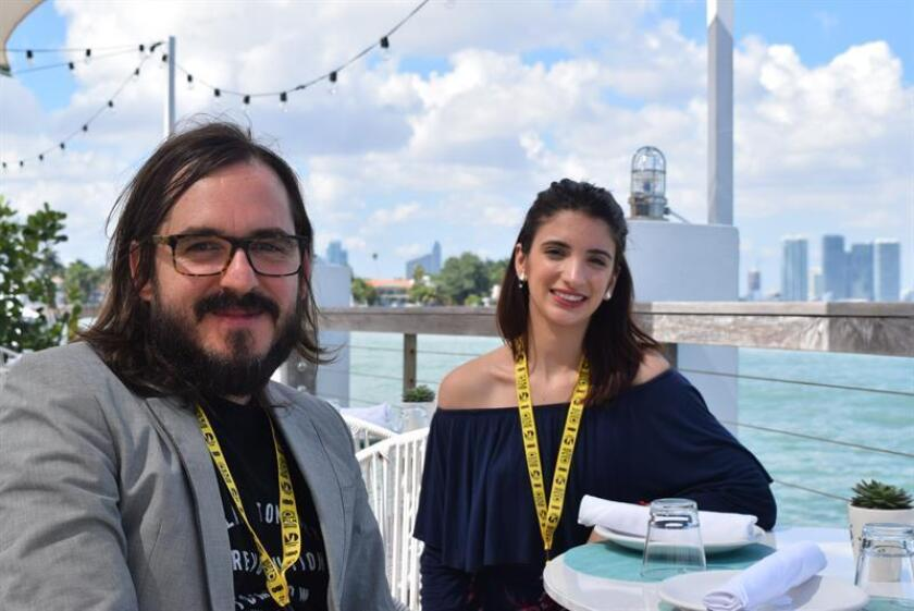 The Cuban filmmaker Rudy Riveron (L) and the actress Gabriela Ramos (R) in an interview with EFE on March 2, 2019 in Miami Florida. EPA- EFE/Jorge Ignacio Perez