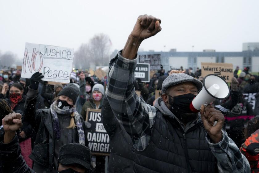 Demonstrators in Brooklyn Center, Minn.