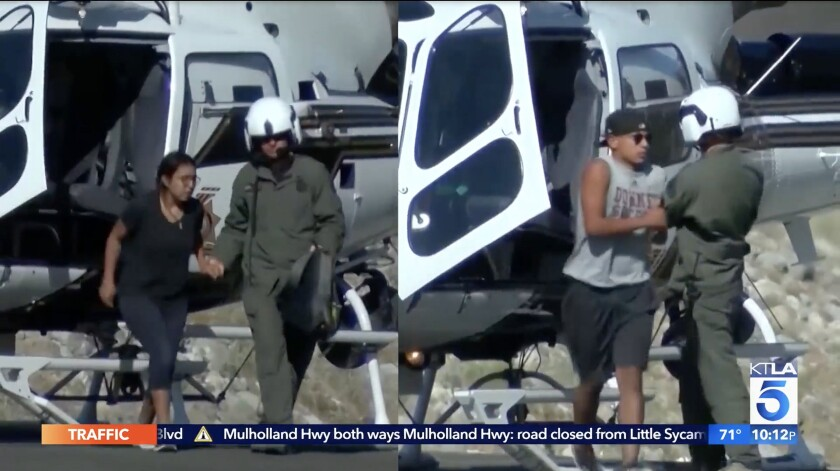 A frame grab from a split TV screen shows a man in a helmet assisting two young people out of a helicopter.