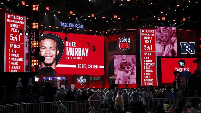 Oklahoma's Kyler Murray is announced as the overall first pick in the first round of the NFL draft by the Arizona Cardinals on Thursday in Nashville.