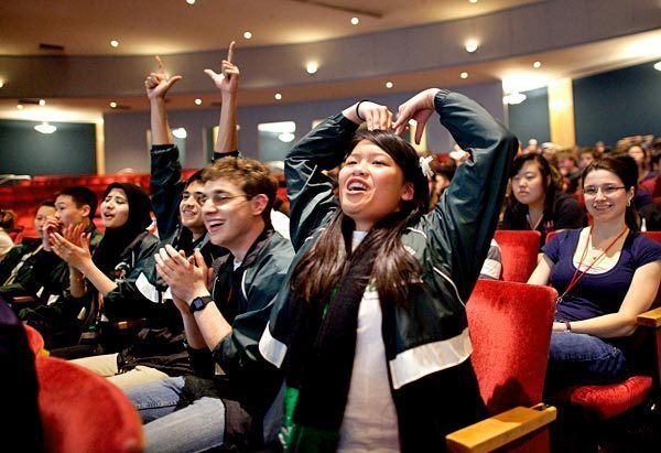Granada Hills Charter High School's Kimberly Ly cheers on her teammates at the Super Quiz at the 2012 National Academic Decathlon in Albuquerque on Friday.