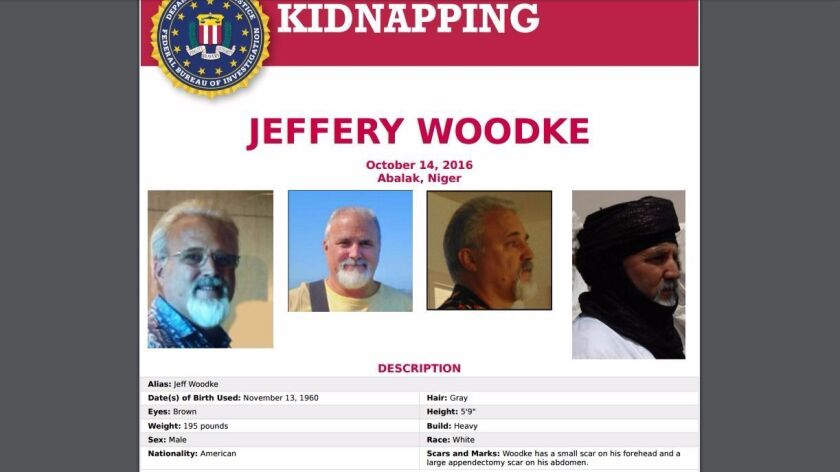 FBI poster announcing Jeffery Woodke kidnapping