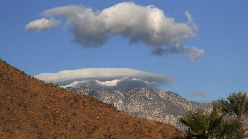 INDIAN WELLS, CALIF. -- FRIDAY, MARCH 9, 2018: Layers of clouds form over the Santa Rosa Mountains