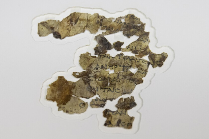 The Israel Antiquities Authority displays newly discovered Dead Sea Scroll fragments at the Dead Sea scrolls conservation lab in Jerusalem, Tuesday, March 16, 2021. Israeli archaeologists on Tuesday announced the discovery of dozens of new Dead Sea Scroll fragments bearing a biblical text found in a desert cave and believed hidden during a Jewish revolt against Rome nearly 1,900 years ago. (AP Photo/Sebastian Scheiner)