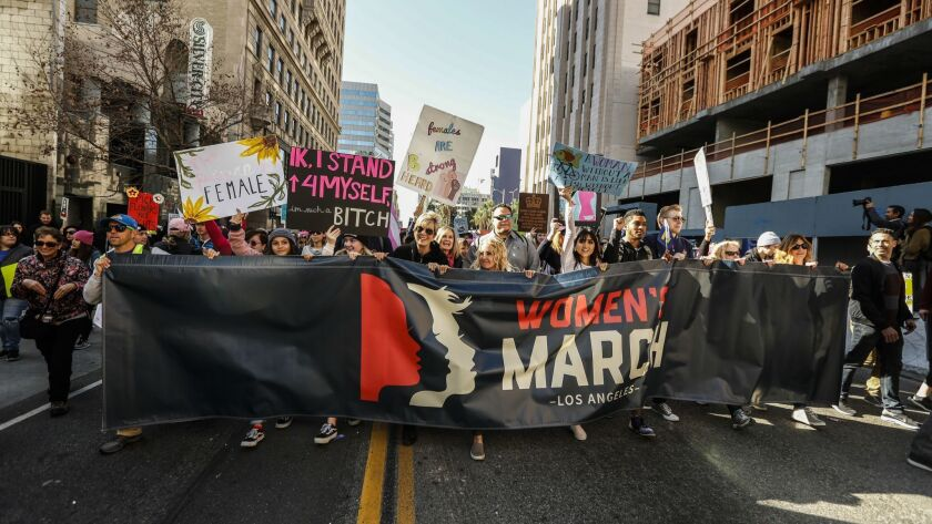 LOS ANGELES, CA--JANUARY 20, 2018: The Women's March of Los Angeles which overcame its' prediction o