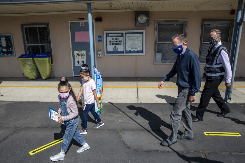First-graders escort Supt. Austin Beutner in visit to Canterbury Elementary.