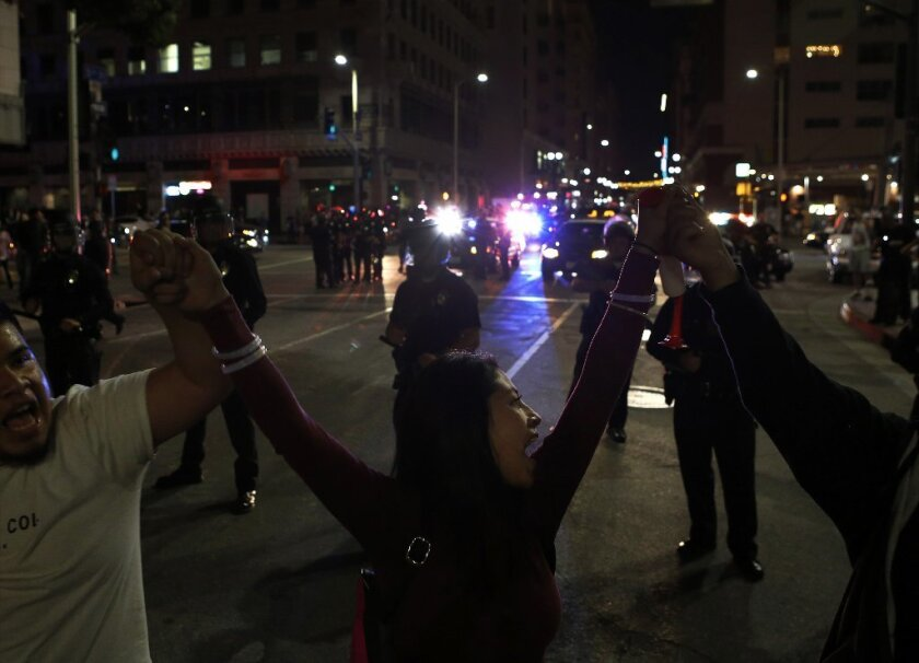 Anti-Trump protesters in downtown Los Angeles