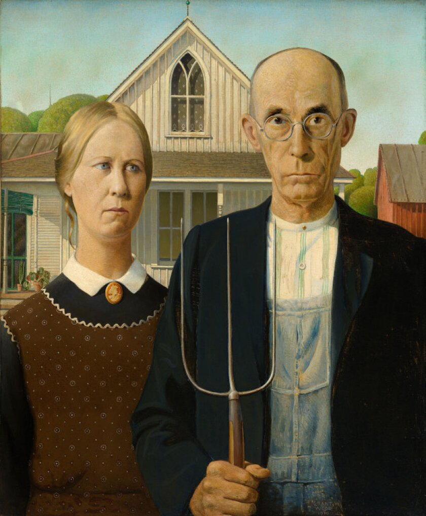 """Grant Wood painted """"American Gothic"""" after being intrigued by the building's upstairs window, ordered from a Sears catalog."""