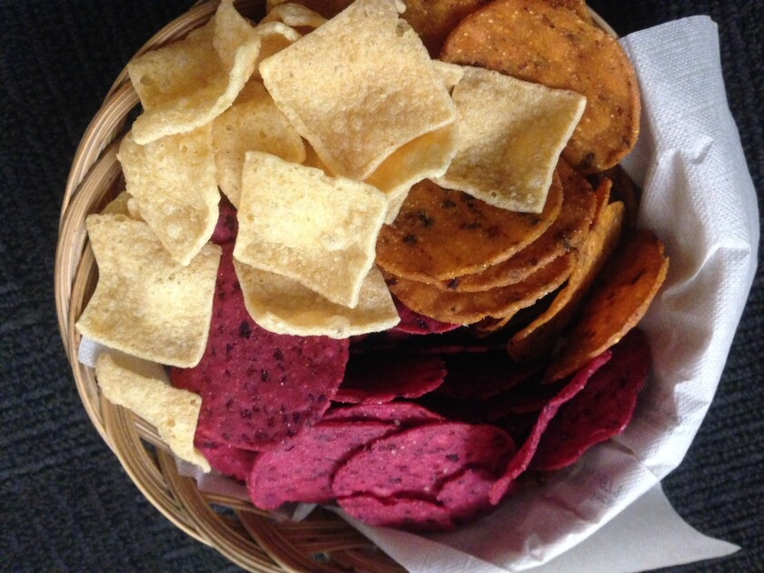 Lentil, chipotle and beet-flavored chips.