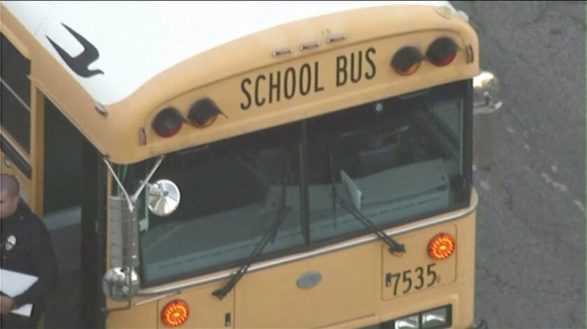 A L.A. Unified school bus windshield was struck by a stray bullet Thursday morning, police said