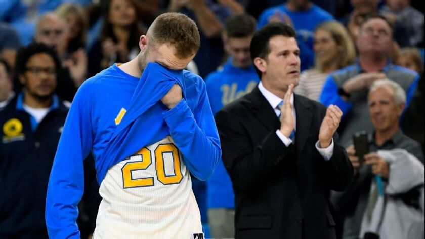 UCLA guard Bryce Alford wipes his eyes after being introduced as an outgoing senior in his final game on March 4 at Pauley Pavilion.