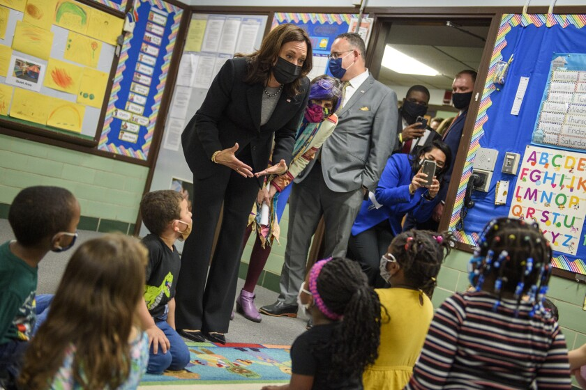 Vice President Kamala Harris, Rep. Rosa DeLauro, D-Conn., and Secretary of Education Miguel Cardona visit with children in a classroom at West Haven Child Development Center in West Haven, Conn., Friday, March 26, 2021. (Mark Mirko/Hartford Courant via AP)