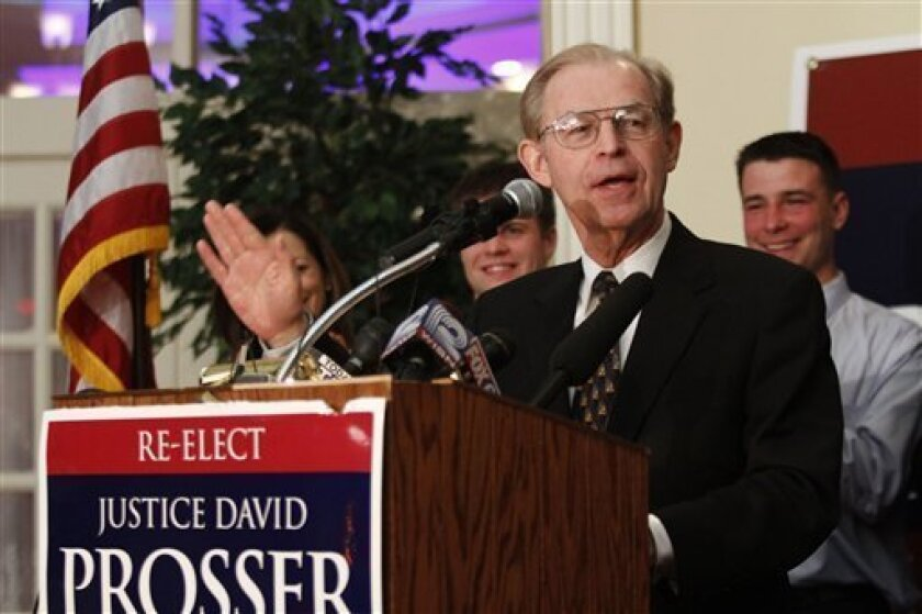 Justice David Prosser, speaks to supporters at the Seven Seas Restaurant Tuesday April 5, 2011 in Waukesha Wis. as he takes on Assistant Attorney General JoAnne Kloppenburg for the Wisconsin Supreme Court seat. (AP Photo/Darren Hauck)