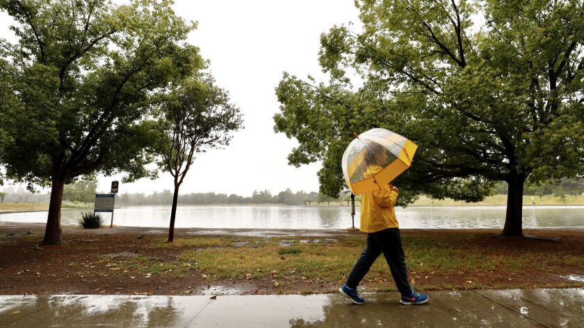 Lauren Lewis takes a walk in the rain around Lake Balboa in Encino last week. More rain is coming to L.A. over the next several days.