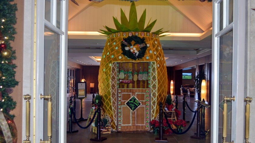 Ritz-Carlton, Kapalua guests and visitors will find a larger-than-life pineapple-shaped gingerbread house on display in the hotel lobby.