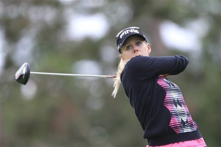 Pernilla Lindberg of Sweden drives on the 15th tee during the second round of the Jamie Farr Toledo Classic at the Highland Meadows Golf Club in Sylvania, Ohio, Friday, Aug. 10, 2012. (AP Photo/Carlos Osorio)