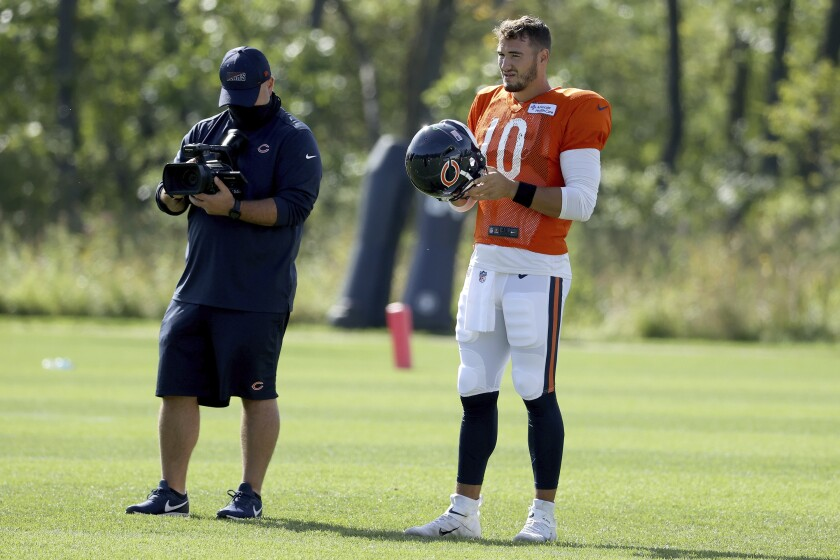Chicago Bears quarterback Mitchell Trubisky (10) looks on during NFL football training camp at Halas Hall on Wednesday, Sept. 2, 2020, in Lake Forest, Ill. (Dylan Buell/Pool Photo via AP)