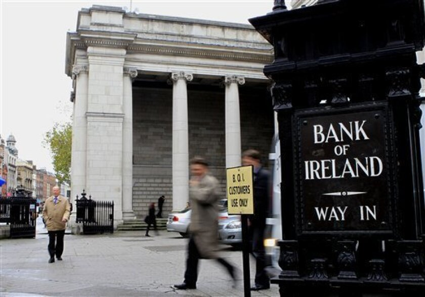 The Bank of Ireland headquarters in Dublin, Ireland, Friday, Nov. 5, 2010. Ireland's government says it wants to slash euro6 billion ($8.5 billion) from its 2011 deficit in an unprecedented bid to tame its debt crisis, even though it conceded that the big cuts and added taxes will mean lower growth. (AP Photo/Peter Morrison)