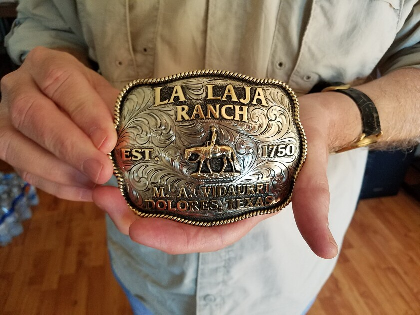 Belt buckle commemorating the founding of  family ranch on a Spanish land grant in 1750