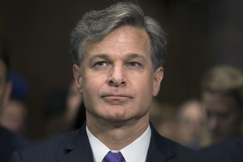FBI Director Christopher A. Wray on Capitol Hill in 2017.