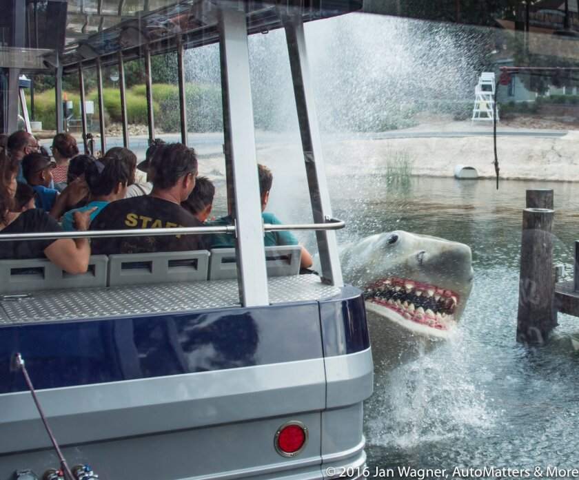 """Jaws"" shark attacking the Studio Tour tram"