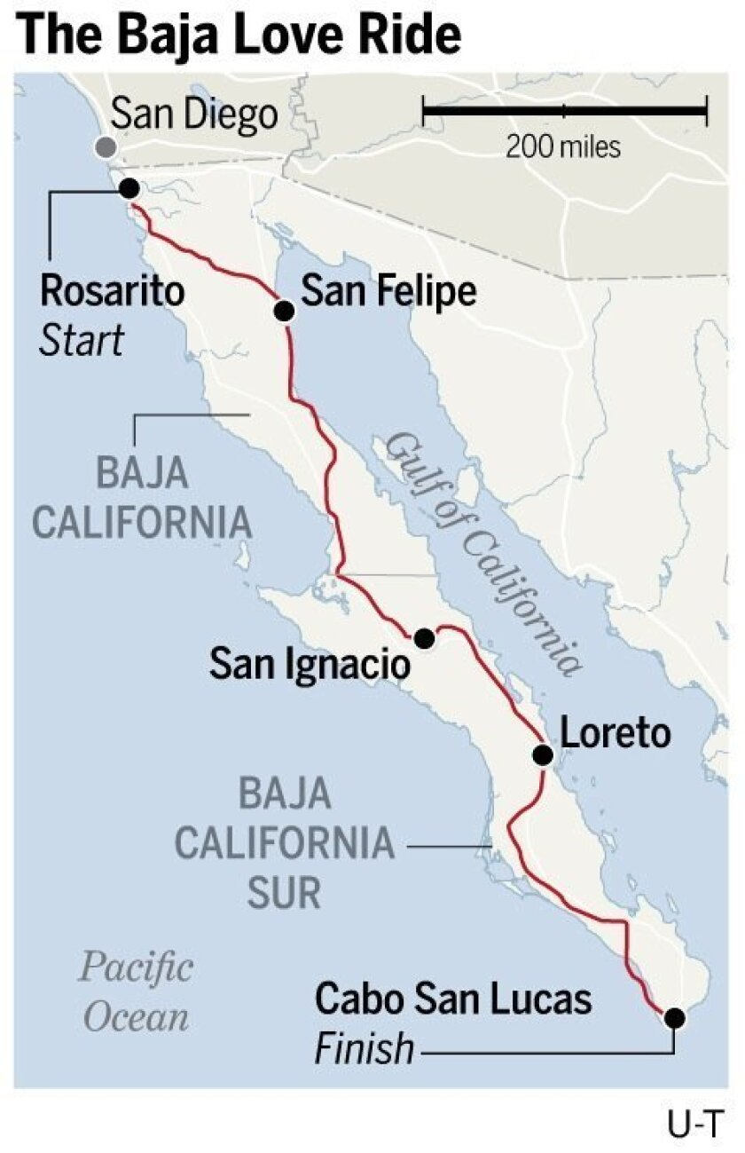 The 16-day Baja Love Ride aims to raise money for charity and promote the peninsula as a safe destination.  /  Graphic by Aaron Steckelberg, U-T