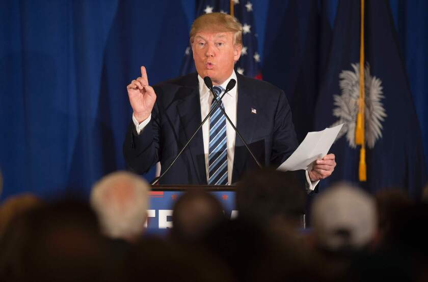 Republican presidential candidate Donald Trump addresses comments made by Pope Francis during a campaign rally in Kiawah, S.C. on Feb. 17, 2016.