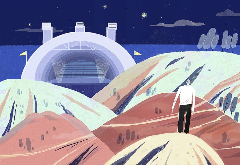 Yun Yao's illustration of man standing in the hills outside the Hollywood Bowl.