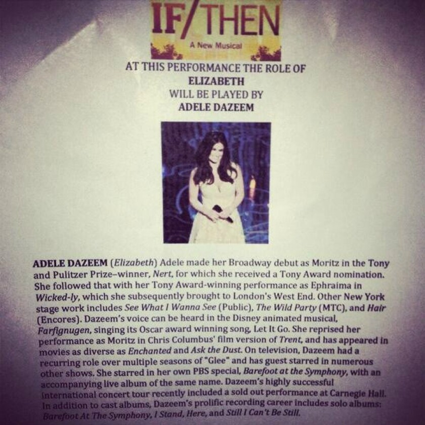 """A fake playbill notice for the new Broadway musical """"If/Then"""" advises that Adele Dazeem will substitute for Idina Menzel."""