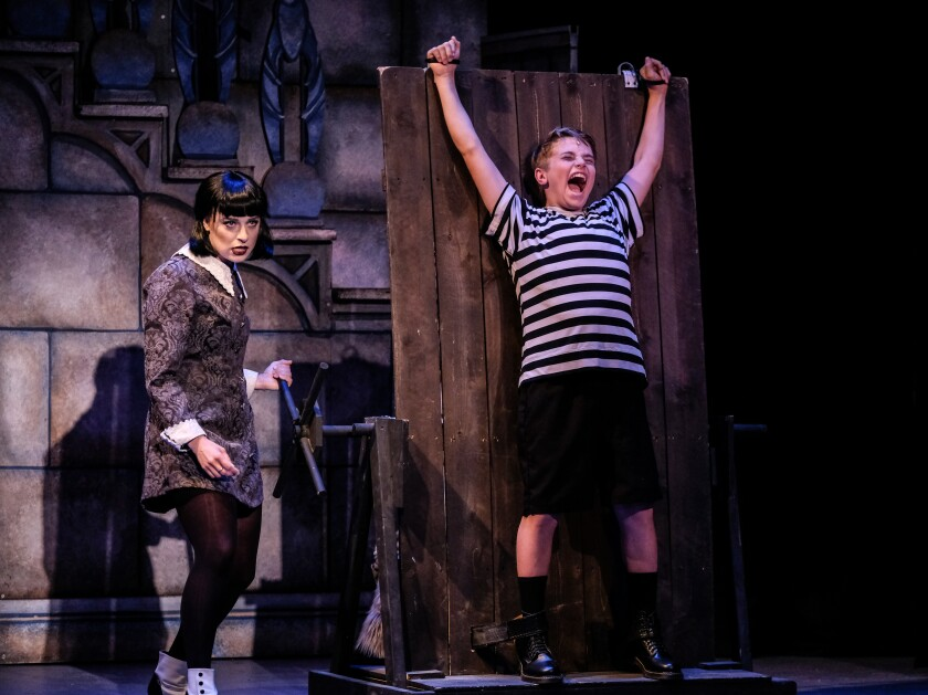 """Chelsea Emma Franko as Wednesday and Blake Ryan as Pugsley in Welk Resort Theatre's production of """"The Addams Family: A New Musical Comedy."""""""