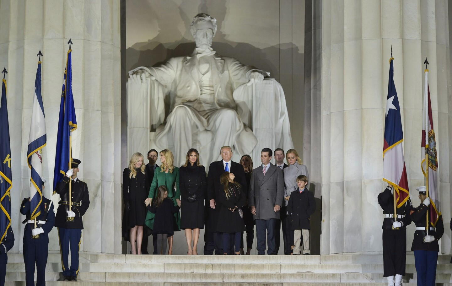 President-elect Donald Trump and family pose at the end of a celebration at the Lincoln Memorial in Washington, D.C., on Thursday.