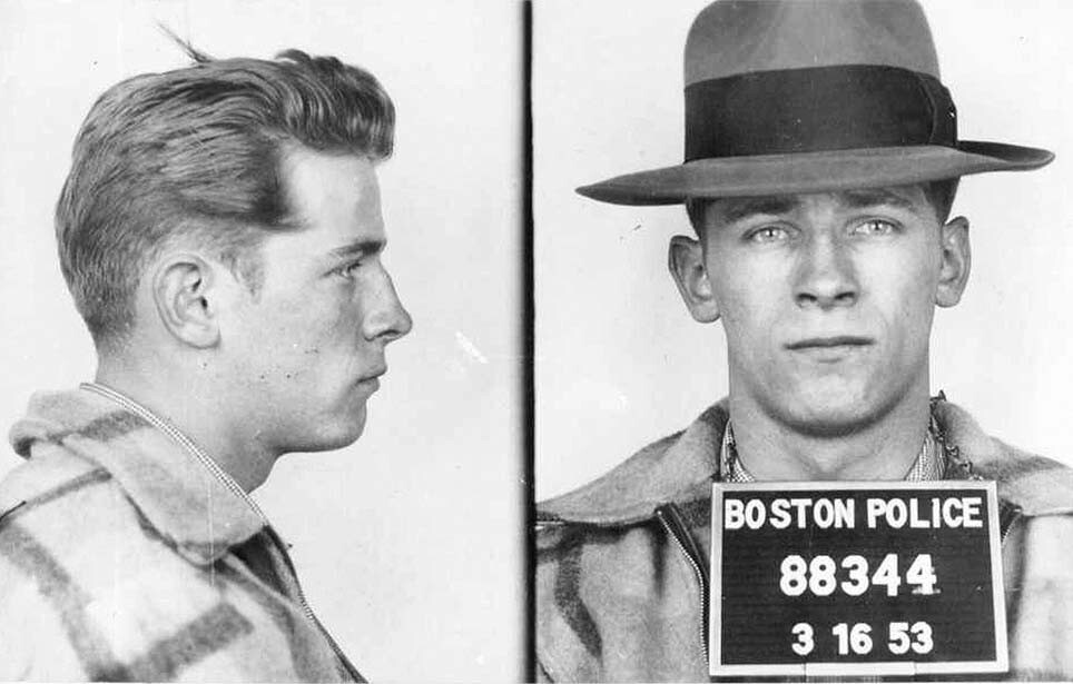 "Old Boston police booking photos show James ""Whitey"" Bulger after an arrest in 1953."