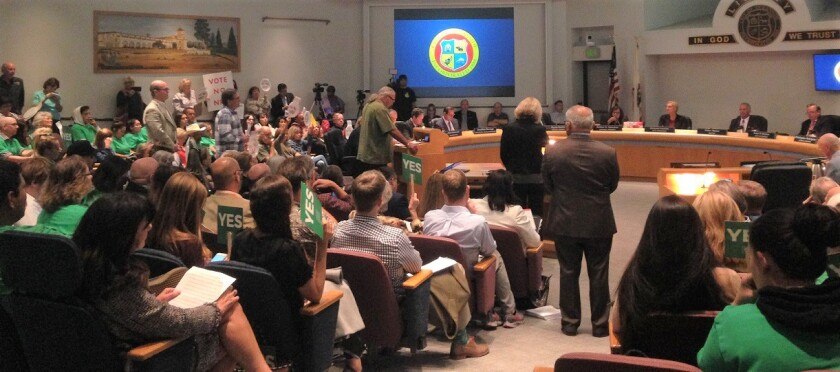 Residents packed Oceanside City Hall for Wednesday's meeting on North River Farms.