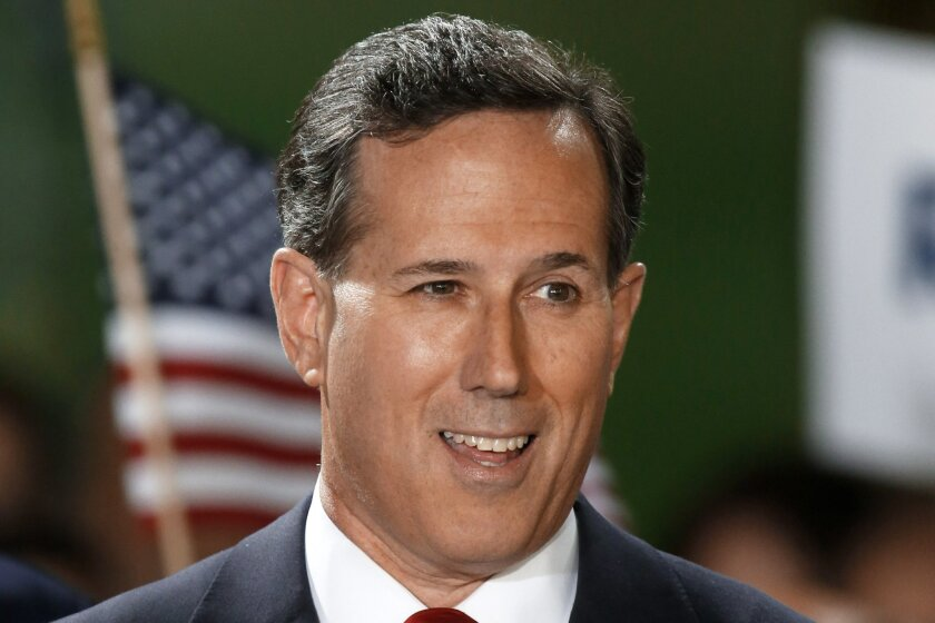 Former U.S. Sen. Rick Santorum announces his candidacy for the Republican nomination for President of the United States in the 2016 election on Wednesday, May 27, 2015 in Cabot, Pa. (AP Photo/Keith Srakocic)
