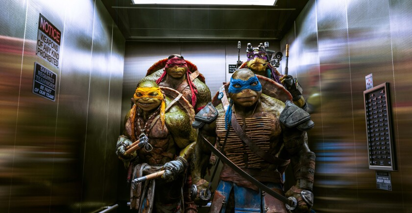 """Teenage Mutant Ninja Turtles packed the theaters in its opening weekend. From left are Michelangelo, Raphael, Leonardo and Donatello."