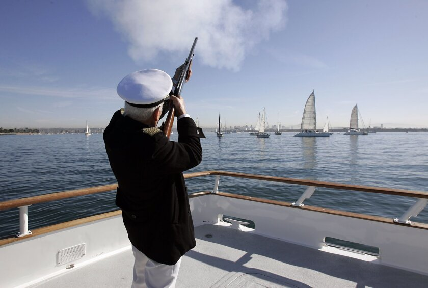 Ensenada port captain Jose Luis Rios signaled the ceremonial start of the Baja Ha-Ha yesterday in San Diego.