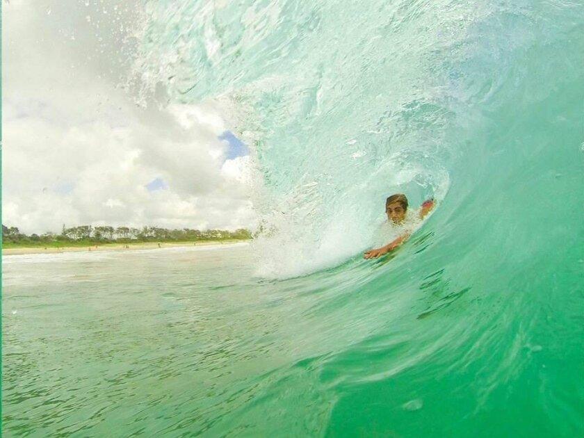Tom Marr bodysurfing in Queensland, Australia.