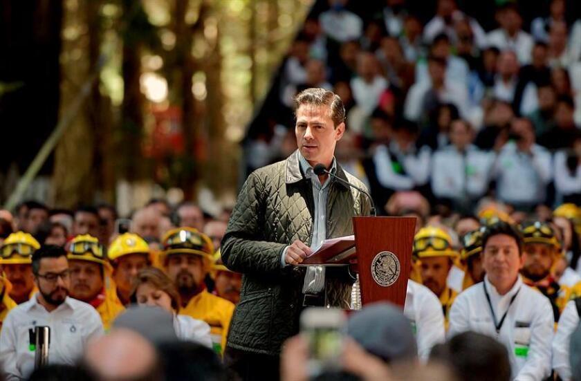 Fotografía cedida por la Presidencia de México hoy, martes 5 de junio de 2018, del mandatario Enrique Peña Nieto durante la celebración del Día Mundial del Medioambiente, en Ciudad de México (México). EFE/Presidencia de México/SOLO USO EDITORIAL/NO VENTAS