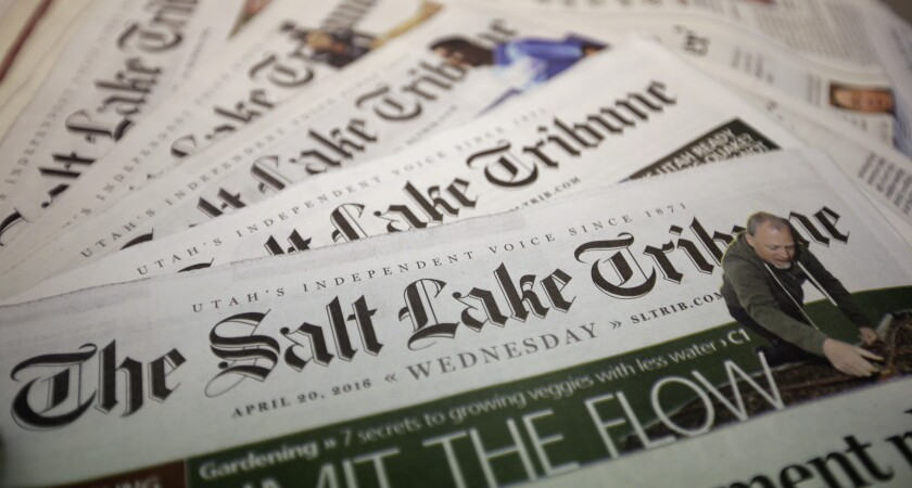 Copies of the Salt Lake Tribune, which will stop printing daily at year's end