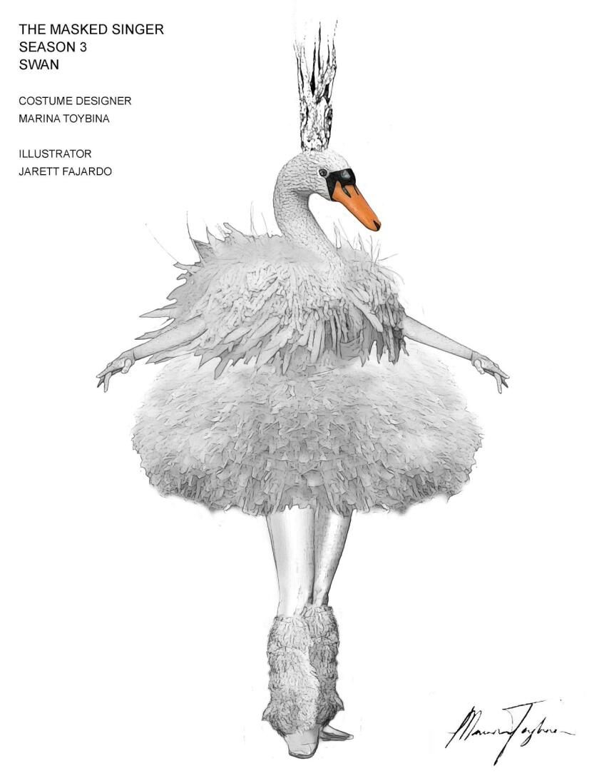 """A swan costume sketch from """"The Masked Singer"""""""