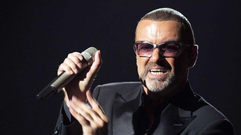 British singer George Michael performing on stage during a charity gala at the Opera Garnier in Paris in 2012.