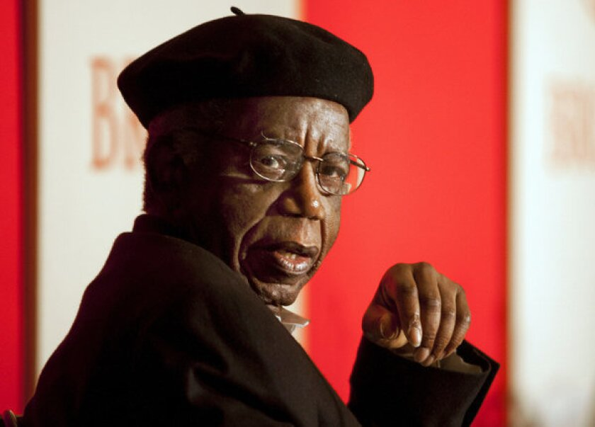 Chinua Achebe photographed at Brown University in 2010, where he was a professor of languages and literature.