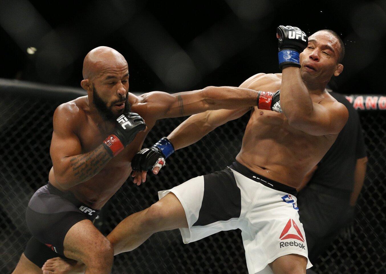 Demetrius Johnson, left, defeated John Dodson by unanimous decision Saturday at UFC 191 at Las Vegas.
