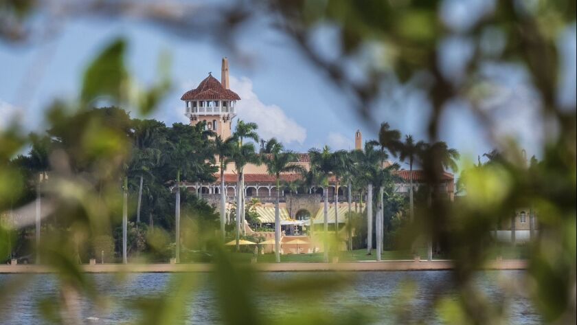 FILE - This Nov. 23, 2018 file photo shows President Donald Trump's Mar-a-Lago estate behind mangrov