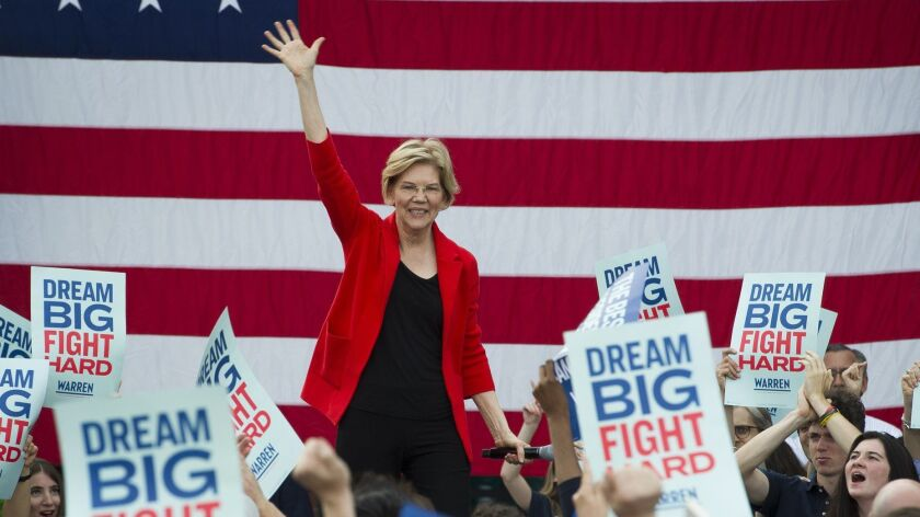 In this May 16, 2019, photo, Democratic presidential candidate Sen. Elizabeth Warren, D-Mass., addre