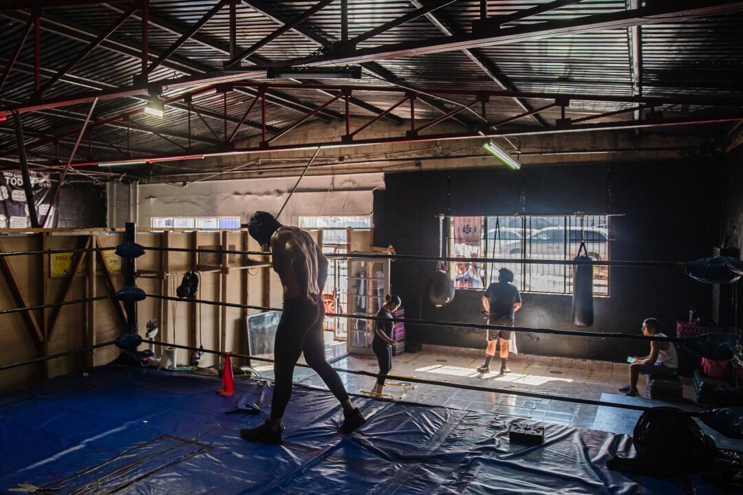 Romeo en el ring en X-Gym en Tijuana, México