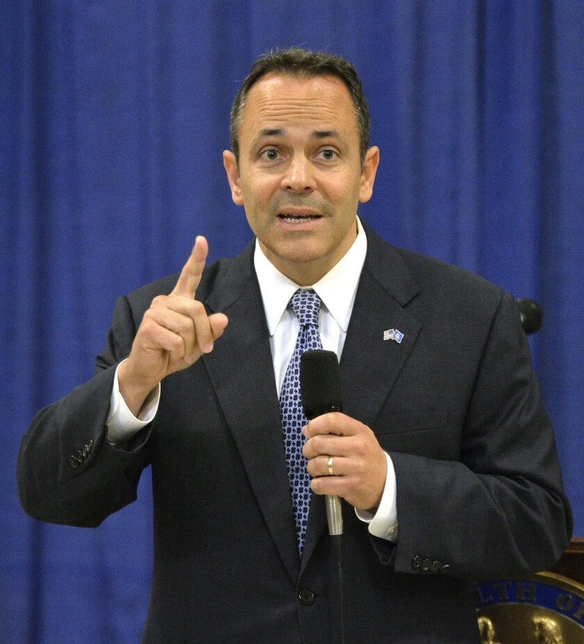 Kentucky Governor-elect Matt Bevin responds to a question during a press conference in the Kentucky State Capitol Rotunda, Friday, Nov. 6, 2015, in Frankfort, Ky. (AP Photo/Timothy D. Easley)